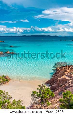 Amazing pink sand beach in Budelli Island, Maddalena Archipelago, Sardinia, Italy Royalty-Free Stock Photo #1966413823