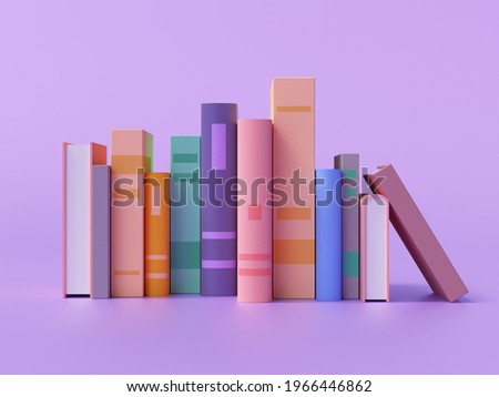 3d render of colorful books collection on purple background