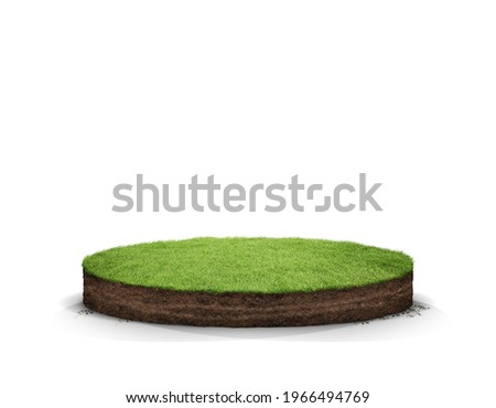 3D Illustration round soil ground cross section with earth land and green grass, realistic 3D rendering circle cutaway terrain floor with rock isolated Royalty-Free Stock Photo #1966494769