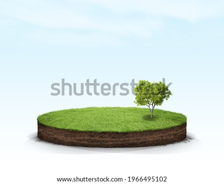3D Illustration round soil ground cross section with earth land and green grass, realistic 3D rendering circle cutaway terrain floor with rock isolated Royalty-Free Stock Photo #1966495102