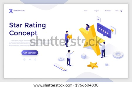 Landing page template with group of people and golden stars. Concept of quality ranking, excellent rating score, positive review, user feedback. Modern isometric vector illustration for website. Royalty-Free Stock Photo #1966604830