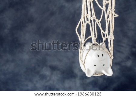 Trapped piggy bank in net on dark background with copy space. Avoid debt traps and speculation. Savings and retirement financial scams Royalty-Free Stock Photo #1966630123