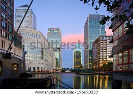 London, UK -Â?Â? October 6 2010: View of the Middle quay in Canary Wharf, London. #196690139
