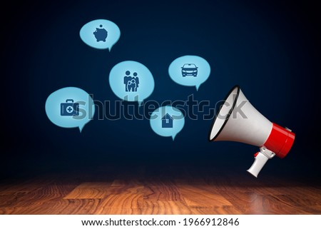 Insurance concept with megaphone and comic speech bubbles, 3D render with cartoon design. Assurance and insurance icons: car, real estate and property, finances, health, family and life.