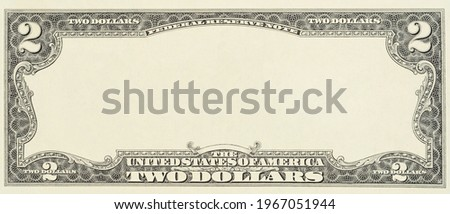 Blank front sample of US two dollar banknote with full empty middle area. Blank obverse side two dollar bill for design purposes. Mockup for your picture and text. Royalty-Free Stock Photo #1967051944