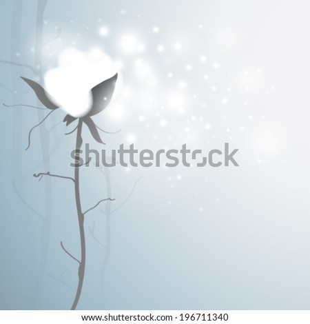COTTON / Romantic card with snowy flower  #196711340