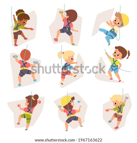 Kids climbing. Happy equipped children crawling up wall with colored ledges, young rock climbers engaged extreme mountaineering. Boys and girls hanging on playground vector cartoon set
