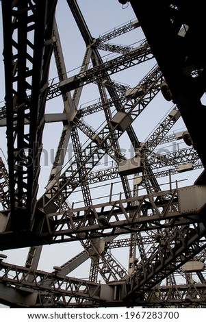A Closer view of complicated construction of steel joint structure with cross members Royalty-Free Stock Photo #1967283700