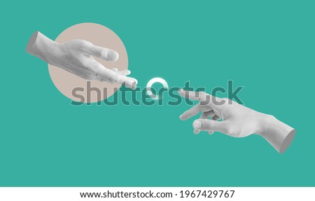 Digital collage modern art. Helping and rescue hand with loading icon Royalty-Free Stock Photo #1967429767