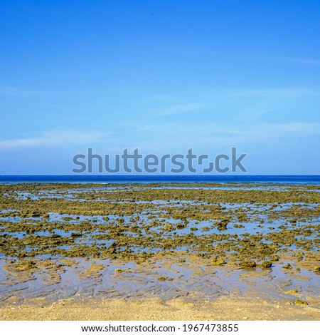 Ebb tide. Strong low tide in the tropical sea. Low tide on Koh Lanta. Royalty-Free Stock Photo #1967473855