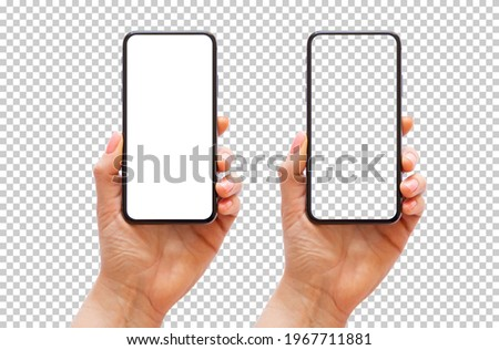 Mobile phone in hand, transparent background pattern Royalty-Free Stock Photo #1967711881