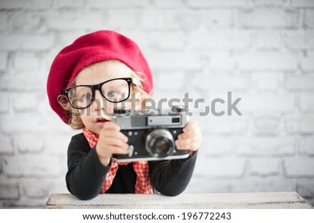 Child with vintage camera #196772243