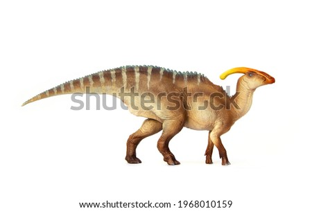 Parasaurolophus Living dinosaur In Late Cretaceous. Dinosaur herbivores have crest on their heads. isolated on white background. Royalty-Free Stock Photo #1968010159