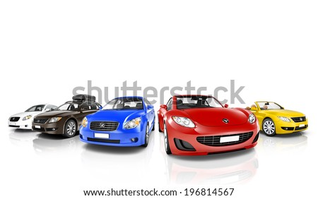 Colorful 3D Cars in a Row #196814567