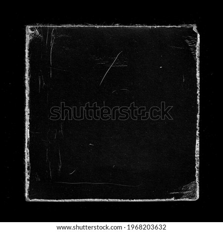 Old Black Square Vinyl CD Record Cover Package Envelope Template Mock Up. Empty Damaged Grunge Aged Photo Scratched Shabby Paper Cardboard Overlay Texture.  Royalty-Free Stock Photo #1968203632