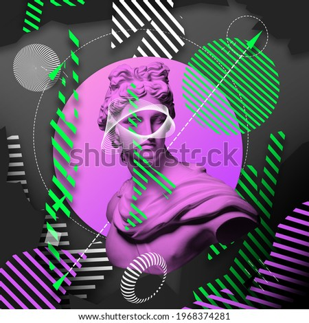 Contemporary art collage with plaster head statue isolated on bright multicolored geometric background. Copy space for ad, text. Modern design. Line art. Surrealism. Modern unusual art. Neon light Royalty-Free Stock Photo #1968374281