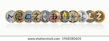 Cryptocurrency Bitcoin BTC with ETH Ethereum, Cardano, Ripple, Litecoin, MIOTA, Zcash, Monero, GASH, defi altcoins, decentralized financial currency isolated with clipping path on white background Royalty-Free Stock Photo #1968380605
