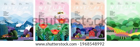Nature and landscape. Vector illustration of trees, forest, mountains, flowers, plants, houses, fields, farms and villages. Picture for background, card or cover Royalty-Free Stock Photo #1968548992