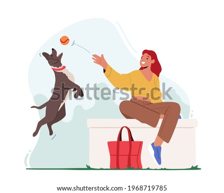Female Character Playing Ball with Pet Spending Time at Summertime City Park. Leisure, Communicating with Home Animal in Park. Woman Walking with Dog Outdoors, Relaxing. Cartoon Vector Illustration Royalty-Free Stock Photo #1968719785