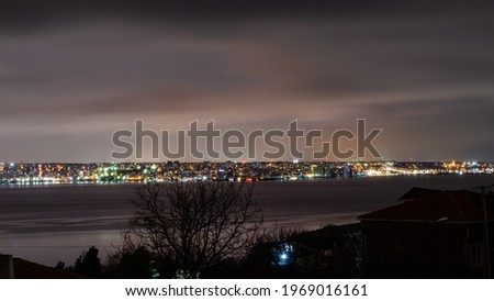 Long exposure photo of Küçükçekmece lake and city of istanbul.