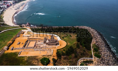 Arial view of Shore Temple of Mahabalipuram. The Shore Temple is so named because it overlooks the shore of the Bay of Bengal. It is located near Chennai in Tamil Nadu. Royalty-Free Stock Photo #1969052029