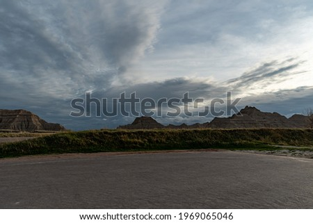 Badlands National Park on a Spring Day Around Dusk Royalty-Free Stock Photo #1969065046