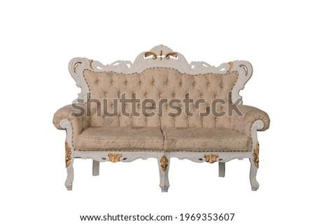 vintage beige color sofa on white background