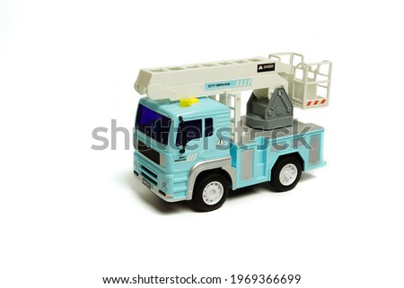 children's toy fire truck. Children's toy plastic car isolated on white background