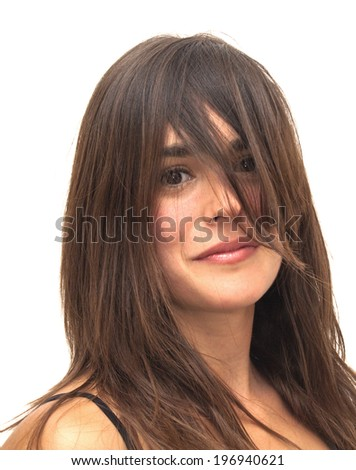 Portrait of Beautiful Young Woman With Her Hair covering her face Over White Background #196940621