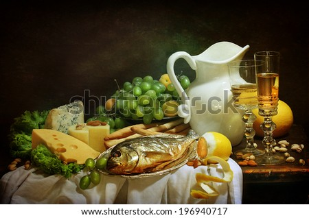 Still-life with smoked fish and cream cheese both fresh fruit and fragrant white wine #196940717