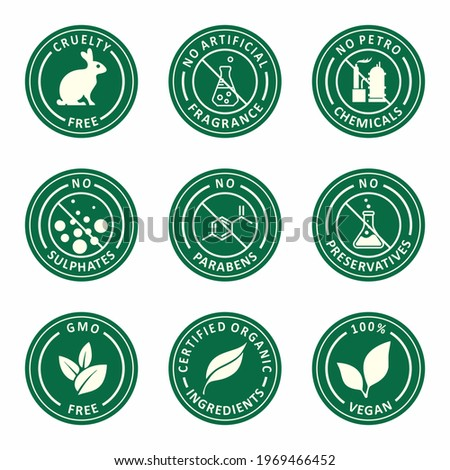 Organic cosmetic set of icons