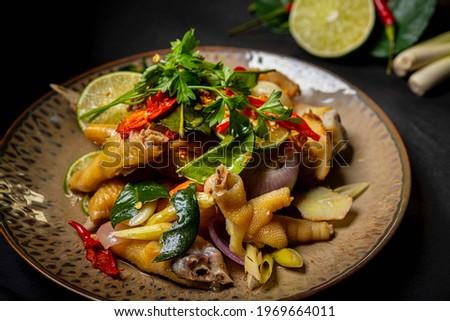 Delicious Boneless Chicken Feet Salad   Chicken Feet Salad High Res Stock Images   Chicken feets in Thailand salad.