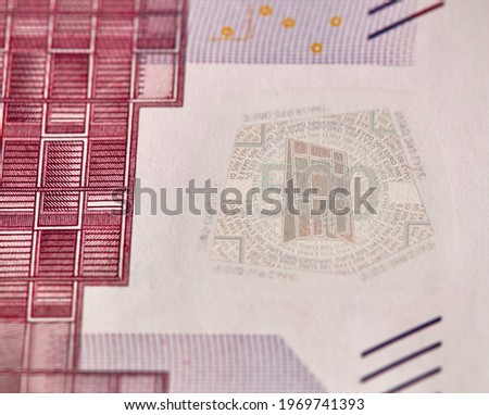 Five houndreds euro banknotes. 500 Euro paper cash. European Union Currency. macro fragment banknote. High resolution photo.