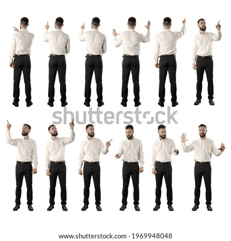 Set of back and front view of business man doing various touch screen interaction gestures. Full body isolated on white background.