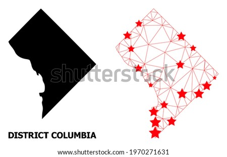 Network polygonal and solid map of District Columbia. Vector model is created from map of District Columbia with red stars. Abstract lines and stars are combined into map of District Columbia. Royalty-Free Stock Photo #1970271631
