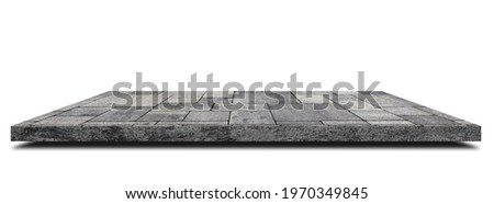 Empty space of Side view concrete walkway or footpath on white background. (Clipping path) Royalty-Free Stock Photo #1970349845