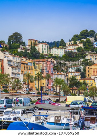 Menton, France, October 15, 2013. View yachts moored in the city's port  #197059268
