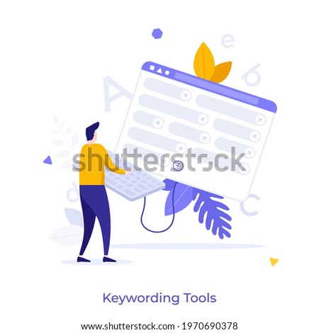 Man working on keyboard connected to window with words or tags. Concept of online keywording tool, professional outsoursing service for microstock images. Modern flat vector illustration for banner.