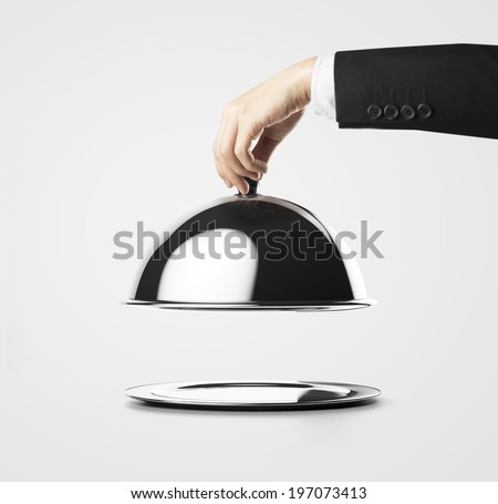 Businessman lifting the lid of the tray  #197073413