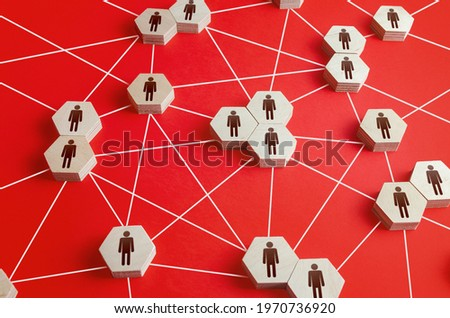 Network of connected people. Interactions between employees and working groups. Networking. Communication in the company. Dynamic hierarchical system. Partnerships, business connections. Cooperation Royalty-Free Stock Photo #1970736920