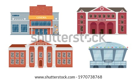 City buildings exterior collection. Facades of opera theatre, cinema, museum and stadium. Vector icons illustrations isolated on white background. Royalty-Free Stock Photo #1970738768