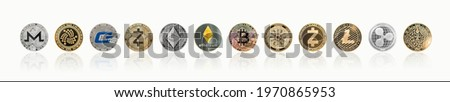 Cryptocurrency Bitcoin BTC with ETH Ethereum, Cardano, Ripple, Litecoin, MIOTA, Zcash, Monero, GASH, defi altcoins, decentralized financial currency isolated with clipping path on white background Royalty-Free Stock Photo #1970865953
