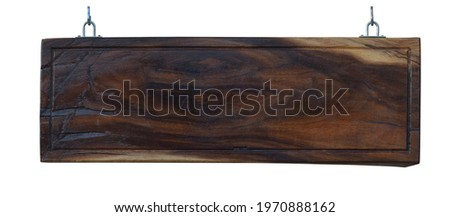 Wooden sign board label hanging isolated on white background. This has clipping path.