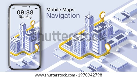 City isometric plan with road and buildings on smart phone.Map on mobile application.Vector illustration of smartphone with mobile navigation app on screen.mobile Navigation app on screen. Royalty-Free Stock Photo #1970942798
