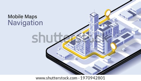 City isometric plan with road and buildings on smart phone.Map on mobile application.Vector illustration of smartphone with mobile navigation app on screen. Royalty-Free Stock Photo #1970942801