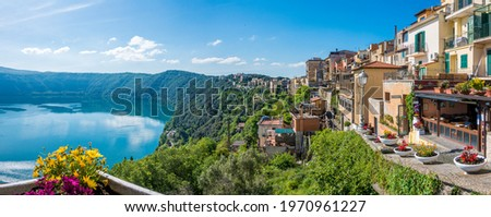 Scenic sight in Castel Gandolfo, with the Albano lake, in the province of Rome, Lazio, central Italy. Royalty-Free Stock Photo #1970961227