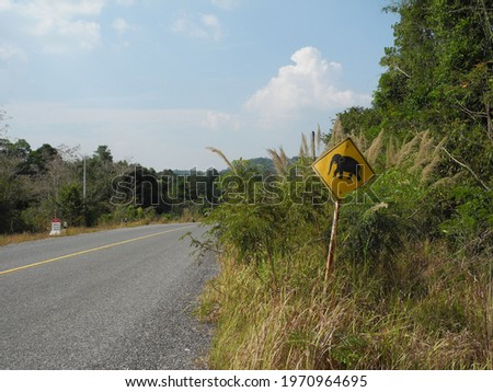 beware of pachyderms, road sign, cambodia          Royalty-Free Stock Photo #1970964695