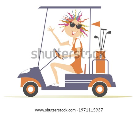 Young golfer woman ride on the golf cart car illustration. Smiling pretty young woman in sunglasses is going to play golf in the golf cart car isolated on white