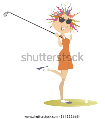 Young golfer woman on the golf course illustration. Cartoon smiling golfer woman in sunglasses holds a golf club isolated on white