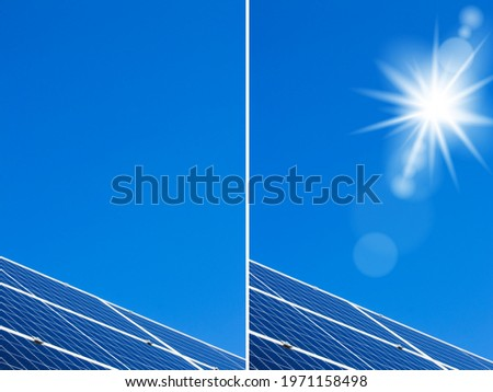 Solar panels sun and blue sky backdrop. Sunlight clean energy power. Renewable green cheap electricity